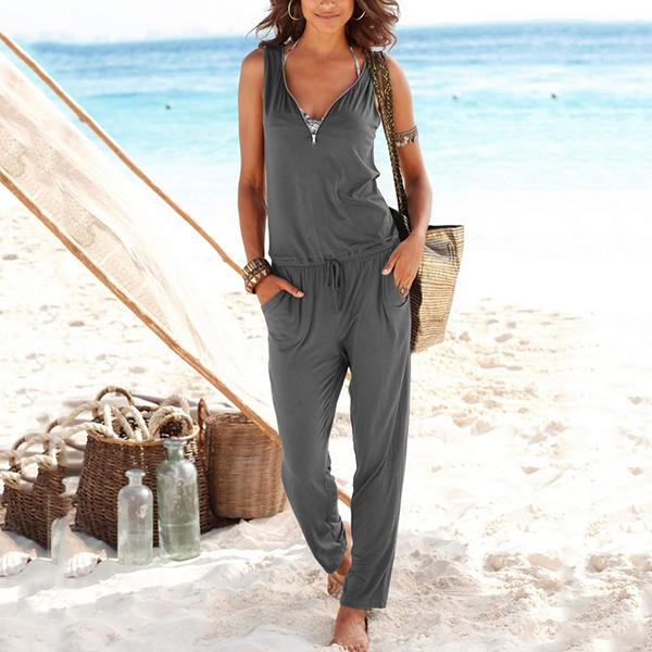 Casual Women Summer Solid Color Sleeveless Jumpsuits
