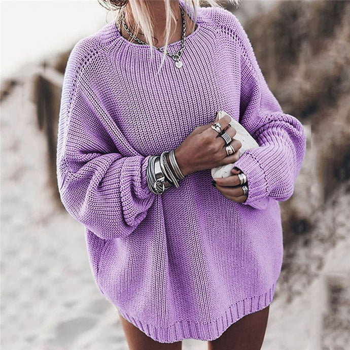 Solid Color Baggy Sweater