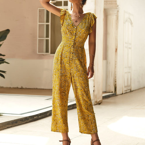 Causal Print V-neck Jumpsuits