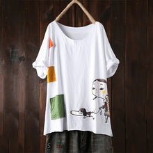 Load image into Gallery viewer, Vintage Cartoon Print Back Pocket Short Sleeve Plus Size T-shirt