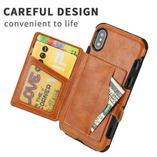 Load image into Gallery viewer, Multiple Card Slots Back Cover Retro Drop Resistance Wallet Case