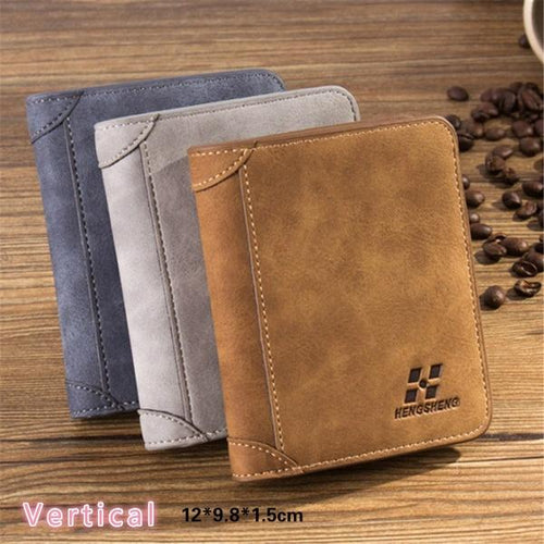Retro Mens Short Credit Card Holder Wallet Zipper Coin Purse for Travel Business