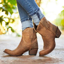 Load image into Gallery viewer, Pointed Toe Slide Pu Chunky Heel Casual Ankle Women Boots
