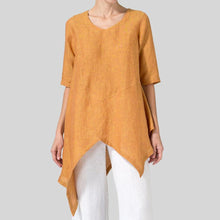 Load image into Gallery viewer, Plus Size Irregular Hem Round Neck Blouses