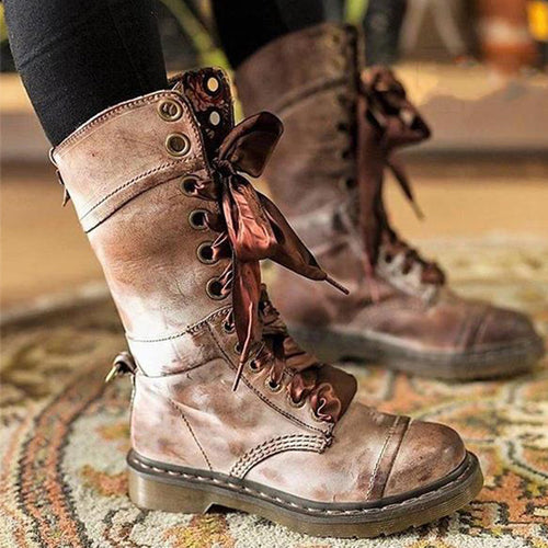 Women Vintage Chunky Heel Lace-up Leather Daily Boots