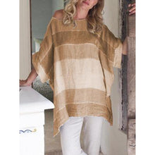 Load image into Gallery viewer, Vintage Crew Neck Half Sleeve Gradient Striped Asymmetrical Hem Tops