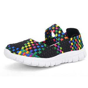 Women Soft Sole Comfortable Woven Flat Shoes Athletic Shoes