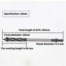 Load image into Gallery viewer, 10-25mm High Carbon Steel Twist Drill Bit Four-edged Four Slot Carpenter Tools