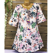 Load image into Gallery viewer, Women Half Sleeve Tassels Dress Printed Loose Casual Short Dresses