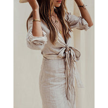 Load image into Gallery viewer, Gray Solid Linen Bandage Summer Dress