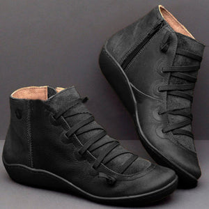 Fashion  Flat Round Toe Ankle Boots