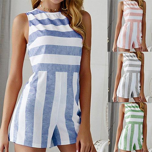 Wide Lined High Neckline and Sleeveless Shorts Romper