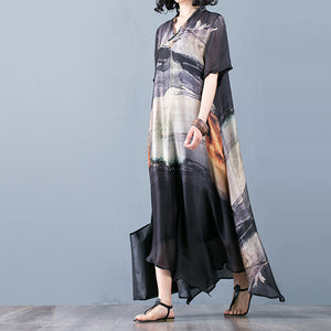 Summer Women Floral Loose Robes Ethnic V Neck Dresses