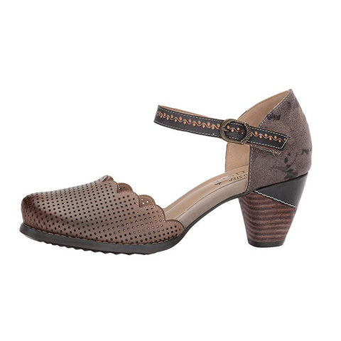 Women Vintage Wave Edge Ankle-Strap Hollow-out Mary Jane Sandals