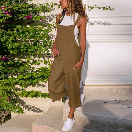 Women Loose Casual Soft Solid Jumpsuits