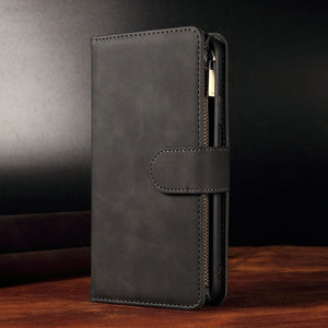 Premium Zipper Wallet Card Slots Magnetic Case For iPhone