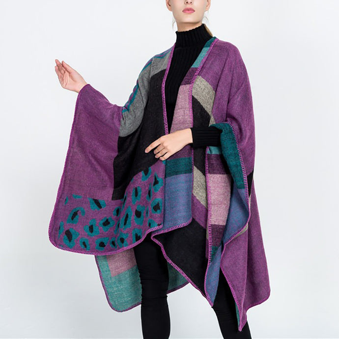 Winter Multicolor Geometric Scarf  Cape Wild Shawl Coat