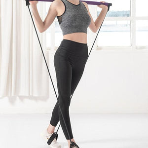 Pilates Bar Stick with Resistance Band for Portable Gym Home Fitness