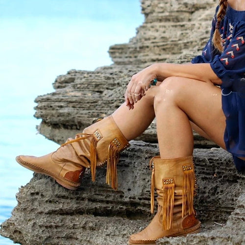 Fashion Brown Tassel Daily Boots