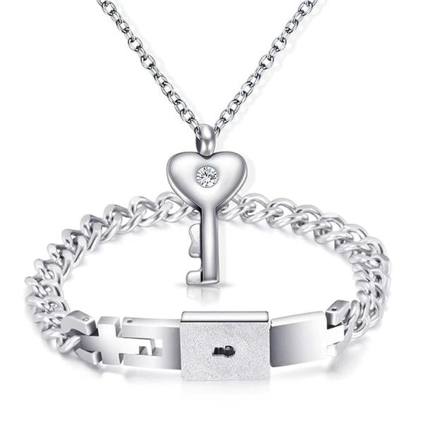 Heart Lock Bracelet & Key Necklace(Couple)