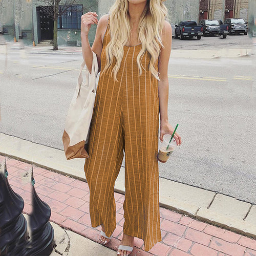 Fashion Women Sleeveless Casual Stripes Jumpsuit Rompers