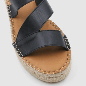 Espadrille Peep Toe Magic Tape Wedges Crossed Sandals