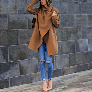 Women's Autumn Winter Woolen Coat With Pocket