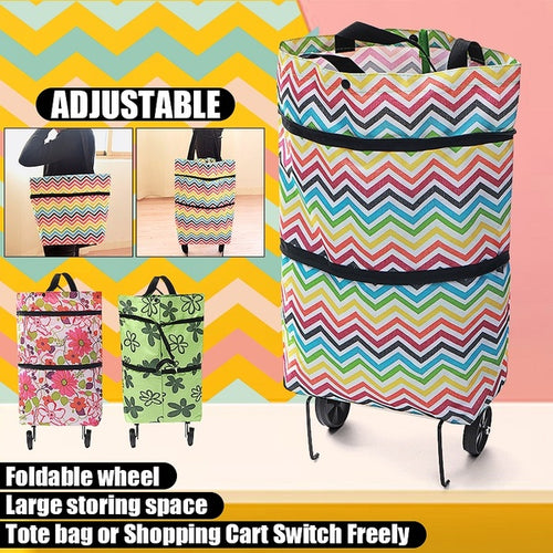 Women Oxford Folding Shopping Cart Laundry Grocery Trolley Dolly Handcart Market Bag