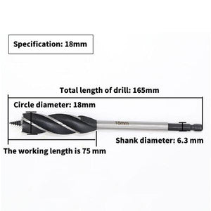 10-25mm High Carbon Steel Twist Drill Bit Four-edged Four Slot Carpenter Tools
