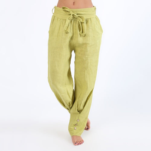 Elastic Bandage Button Loose Pants