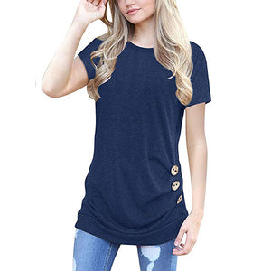 Women Summer Short Sleeve Classic Button T-shirts