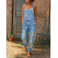 Load image into Gallery viewer, Light Blue Star Printed Sleeveless Denim One-Pieces