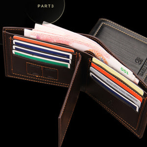 Men Casual Bi-Fold Purse English Style Short Wallet with Separate Card Holder
