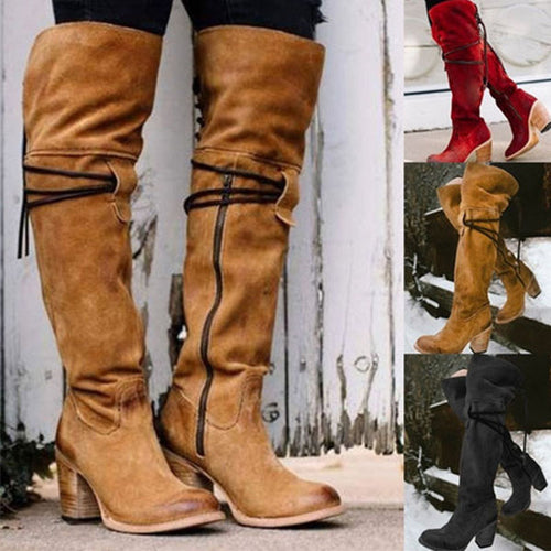 Fashion Fall Winter Round Toe Knee High Boots