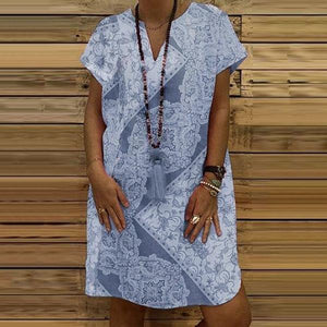 Elegant V Neck Loose Dress