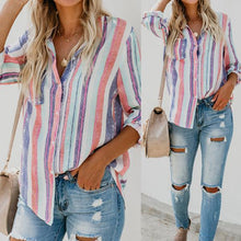 Load image into Gallery viewer, Rainbow Striped Button Loose Shirt