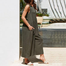 Load image into Gallery viewer, Crew Neck Linen Sleeveless Solid Bohemian Jumpsuits