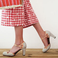 Load image into Gallery viewer, Polka Dot Hollow High Heel Sandals