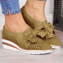 Load image into Gallery viewer, Women's Fashion Wedge Heel Bowknot Hollow-out Sneakers