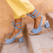 Load image into Gallery viewer, Women Bandage Suede Pumps Holiday Summer Chunky Heel Sandals
