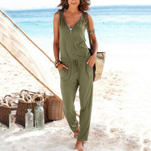 Load image into Gallery viewer, Casual Women Summer Solid Color Sleeveless Jumpsuits