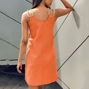 Solid Color Sleeveless Pockets Shift Dress