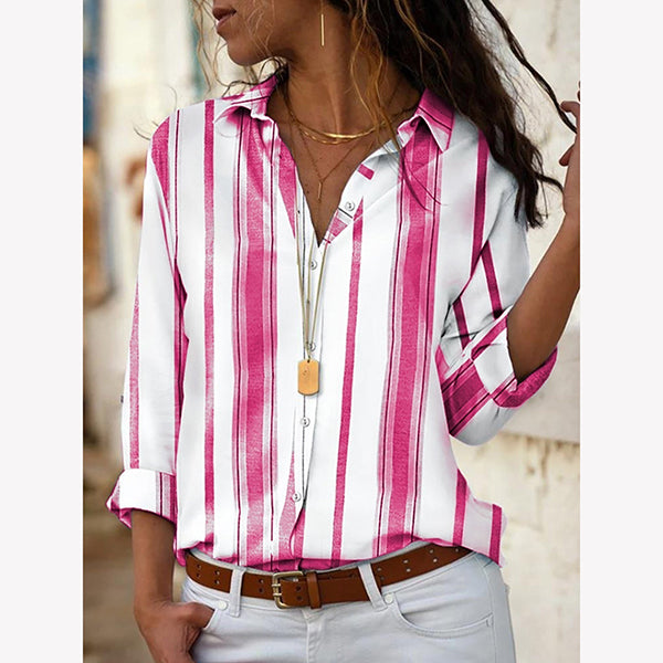 Irregular Striped Print Long Sleeve Blouses