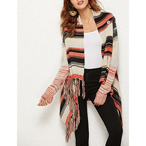 Casual Striped Color Block Coats