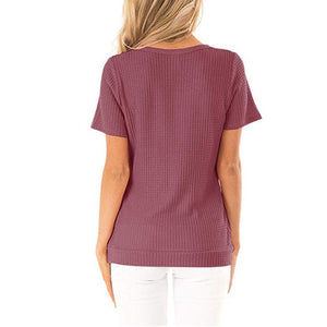V Neck Short Sleeve Button Casual T-Shirt