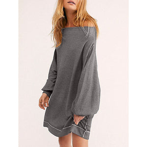 Sexy Boat Neck Lantern Sleeves Solid Dresses