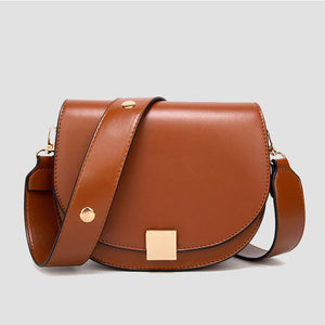 Women's Fashion Spring Lock Buckle Shoulder Saddle Bag