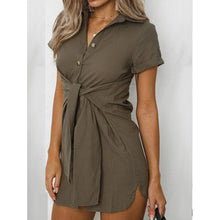 Load image into Gallery viewer, Short Sleeve Lapel Fashion Versatile Tunic Mini Dress