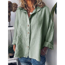 Load image into Gallery viewer, Long Sleeve Solid Shirts Plus Size Tops