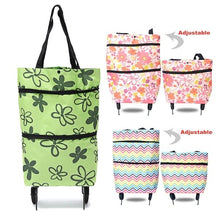 Load image into Gallery viewer, Women Oxford Folding Shopping Cart Laundry Grocery Trolley Dolly Handcart Market Bag